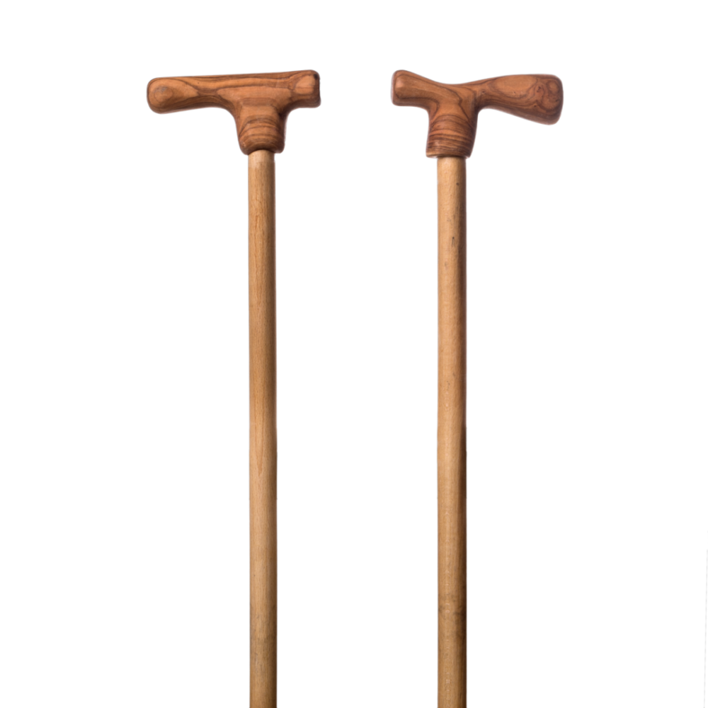Walking stick with handmade olive wood handle