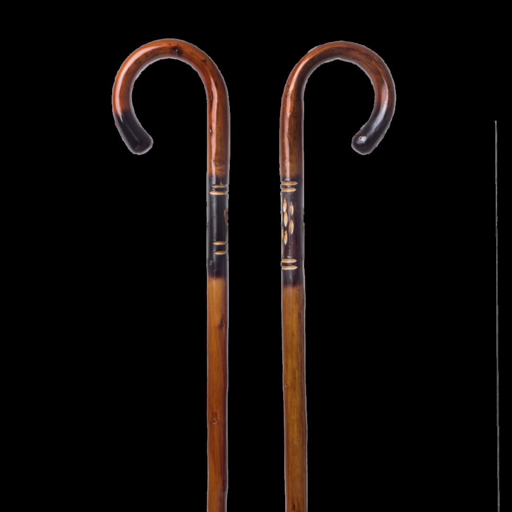Μπαστούνι από ξύλο καστανιάς με διακοσμητικό σκάλισμα