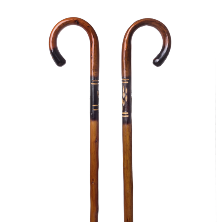 Chestnut walking stick with decoration